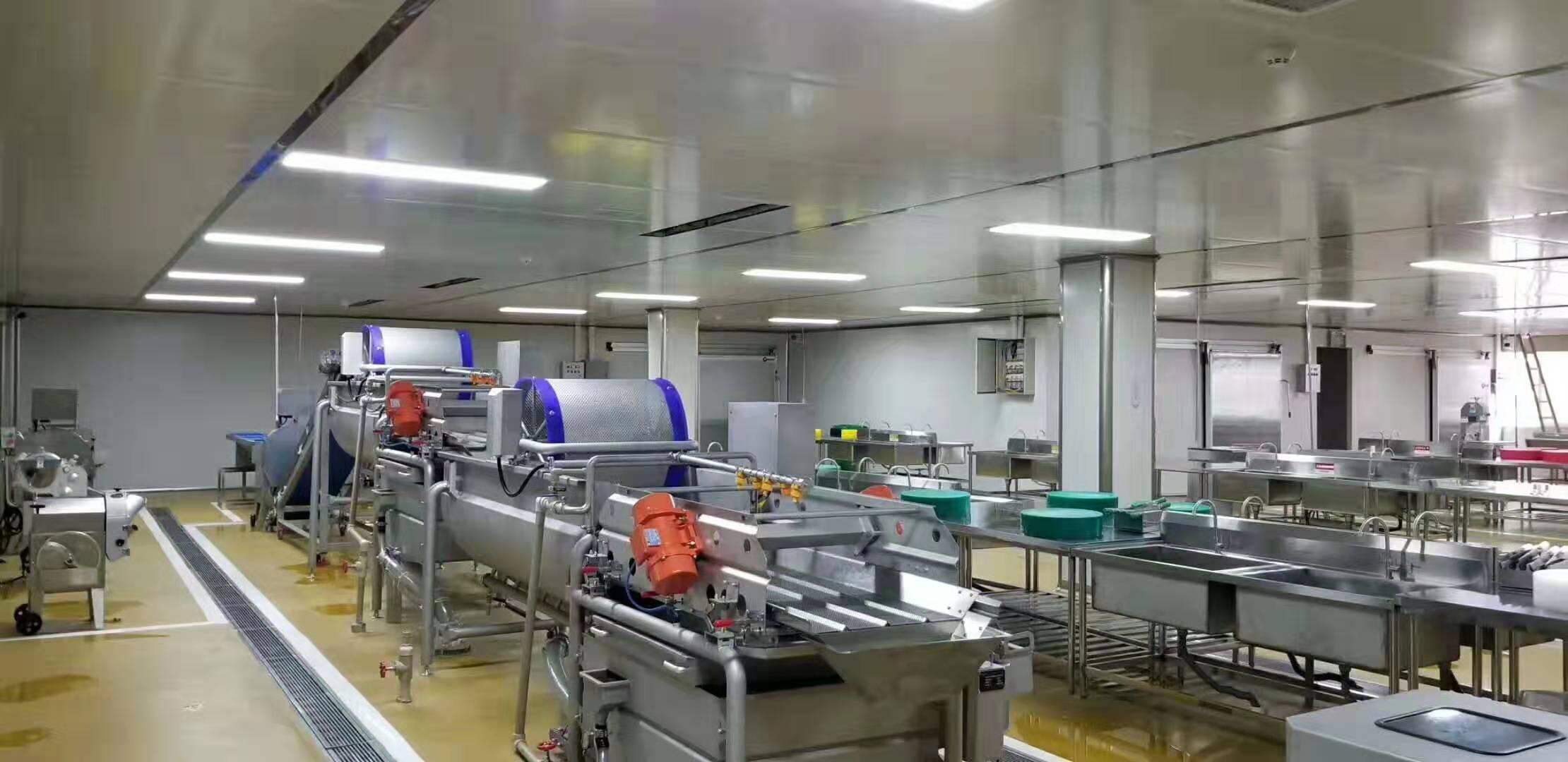 某中央廚房淨菜加工前道設備及蔬菜清洗流水線